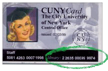 CUNY ID Card, with library barcode (bottom right) circled in green